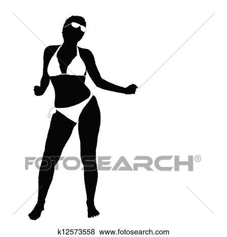 clip art of sexy girl in bikini vector illustration part two rh fotosearch com Girl Clip Art Dancing Girl Clip Art