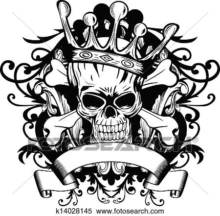 Tribal skull with crown