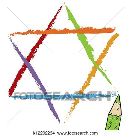 clipart of star of david sketch k12202234 search clip art rh fotosearch com magen david clipart star of david clipart graphics