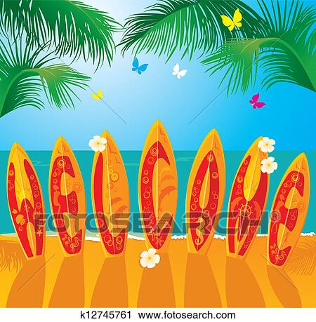 Clipart of summer holiday card surf boards k12745761 search clipart summer holiday card surf boards fotosearch search clip art illustration publicscrutiny Images