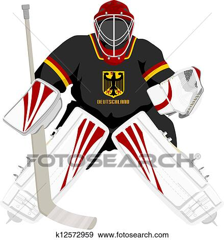 clip art of team germany hockey goalie k12572959 search clipart rh fotosearch com hockey goalie helmet clipart ice hockey goalie clipart