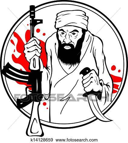 clip art of terrorist k14128659 search clipart illustration rh fotosearch com muslim terrorist clipart achmed the dead terrorist clipart