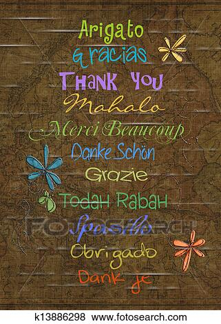 Stock illustration of thank on old map background k13886298 search different languages saying thank you on old world map background gumiabroncs Choice Image