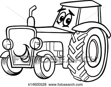 Clip Art of tractor cartoon for coloring book k14600528 - Search ...