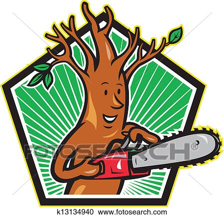 clipart of tree man arborist with chainsaw k13134940 search clip rh fotosearch com