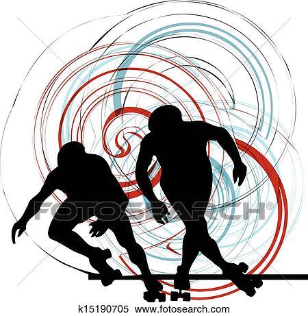影��k�:(�y.�iX�i��Y_剪贴画 - 滑冰者, 侧面影象, 矢量, illustrati k