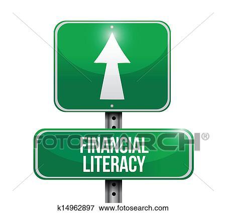 金融, 识字, 路标, 图解 剪贴画