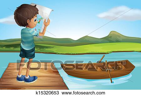 Clipart Of A Boy At The River With Wooden Boat K15320653