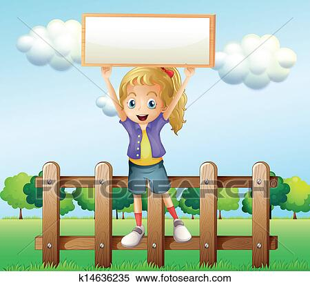 Clipart Of A Girl Holding An Empty Frame Standing Above The Fence