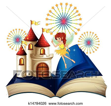 clip art of a storybook with a flying fairy near the castle with rh fotosearch com storybook characters clipart story book clipart black and white