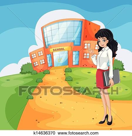 clipart of a teacher going to the school k14636370 search clip art rh fotosearch com going to school clipart black and white boy going to school clipart