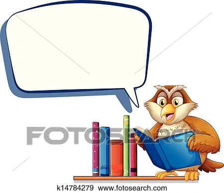 clip art of an owl reading a book with an empty rectangular callout rh fotosearch com