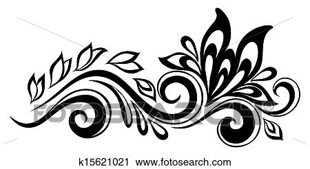 Line Drawing Of Flowers Clipart : Clipart of beautiful floral element. black and white flowers