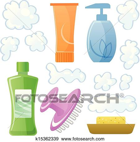 Clip Art Of Bottles Body And Hair Care Beauty Products