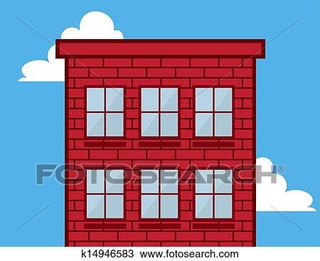 Clipart Of Building Windows Red Brick K14946583