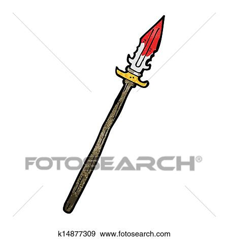 clip art of cartoon bloody spear k14877309 search clipart rh fotosearch com spear head clipart spear fishing clipart