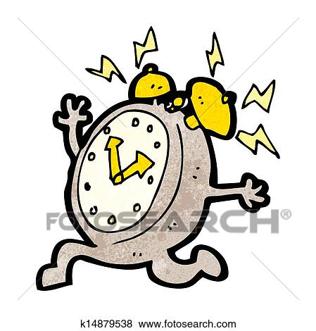 clip art of cartoon running alarm clock k14879538 search clipart rh fotosearch com Animated Clock Clip Art running clock clip art