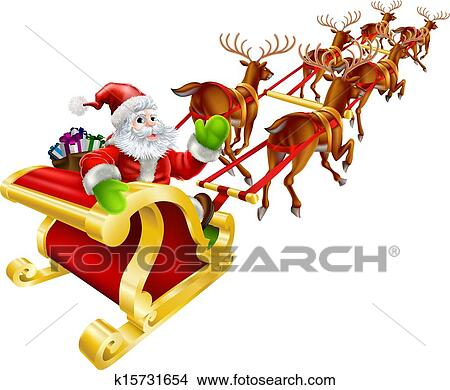 Santa sleigh flying clipart