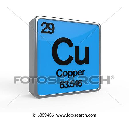 copper element periodic table isolated on white background 3d render - Periodic Table Copper