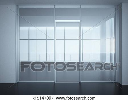 Stock Illustration of Empty office room with glass walls and doors ...