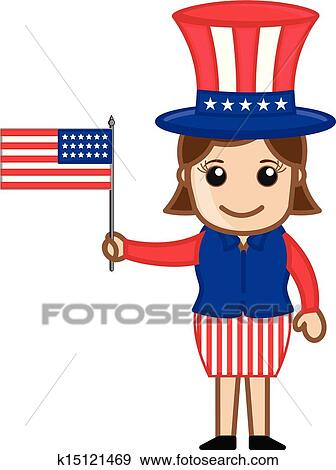 clip art of female uncle sam holding usa flag k15121469 search rh fotosearch com Original Uncle Sam Poster Uncle Sam Recruiting Poster