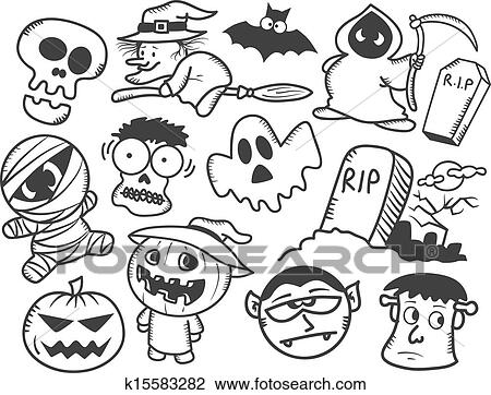 Clipart of Halloween doodle k15583282 - Search Clip Art ...