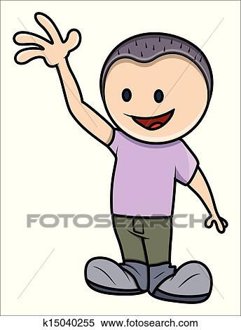 clipart of happy kid saying hello k15040255 search clip art rh fotosearch com happy kid clipart black and white