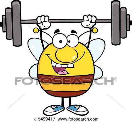clip art of happy pudgy bee lifting weights k15499417 search rh fotosearch com weightlifting clipart logo brain lifting weights clipart