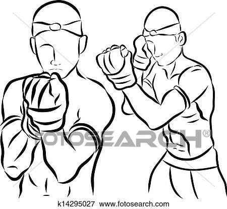 手, 画, 泰国人, 武术, 同时,, muay, 泰国人, boran