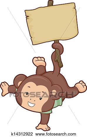剪贴画 - 猴子, 带, 空白