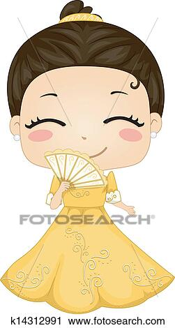 Clipart of Little Filipina Girl Wearing National Costume ...