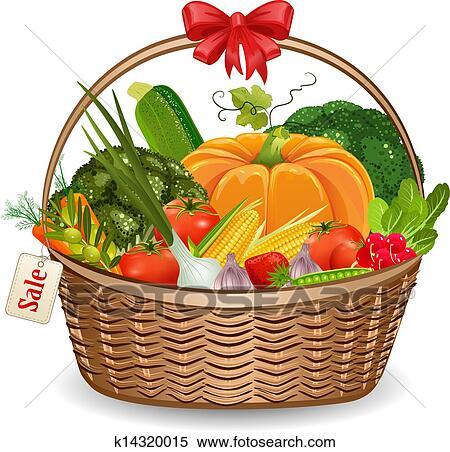 Clipart of Basket fresh vegetables for your design ...