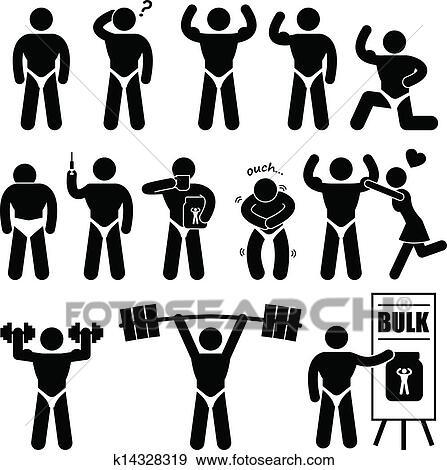 Clip Art of Body Builder Bodybuilder Muscle Man k14328319 - Search ...