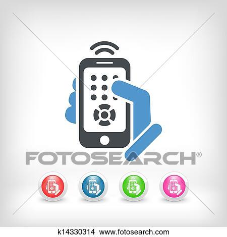 remote control clipart. clipart - smartphone remote control icon. fotosearch search clip art, illustration murals,