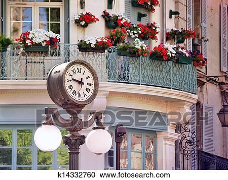 stock photography of clock in old center of avignon france k14332760 search stock photos. Black Bedroom Furniture Sets. Home Design Ideas