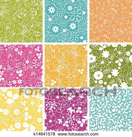 Clip art set di nove fiori primaverili seamless for Sfondi primaverili