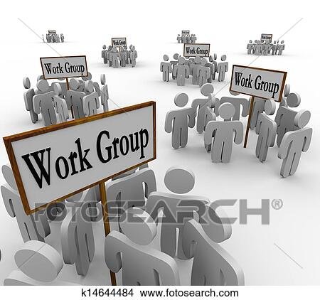 Drawings of Several Work Groups of Workers Divided Tasks ...
