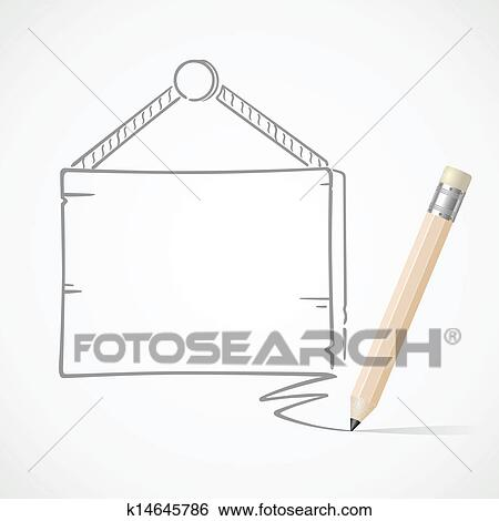 Clip Art of Pencil drawing hanging board k14645786 - Search ...