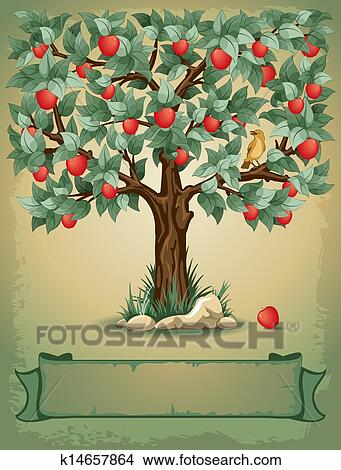 Clipart of apple tree k14657864 search clip art for Apple tree mural