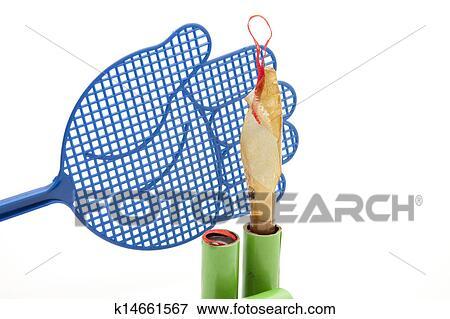 图片- flypaper, 带, flyswatter