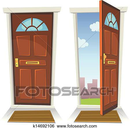 Clip Art of Doors, Closed And Open k13281637 - Search Clipart ...