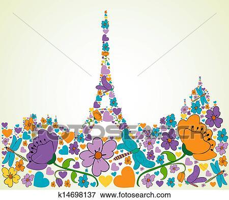 剪贴画 春天, 巴黎