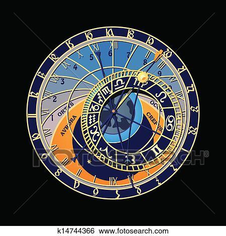 Clip Art Of Astronomical Clock K14744366 Search Clipart