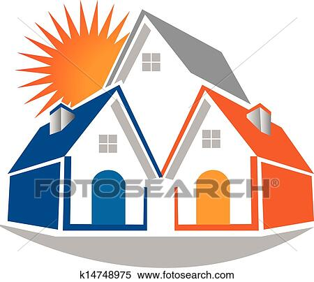 Clipart of Real estate houses and sun logo k14748975 - Search Clip ...