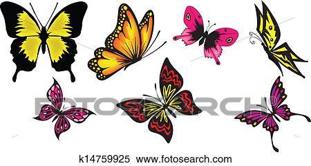 剪贴画 蝴蝶, 矢量, 放置
