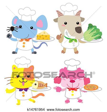 Clipart carino cartone animato animale cuoco - Animale cartone animato immagini gratis ...