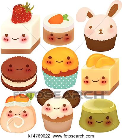Clipart of Collection of Cute Dessert k14769022 - Search ...