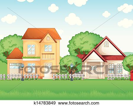Clip Art Of Two Big Houses K Search Clipart - Big cartoon house