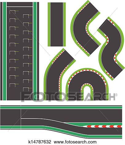Race Track Wall Art >> Clipart of Formula race track line set k14787632 - Search ...