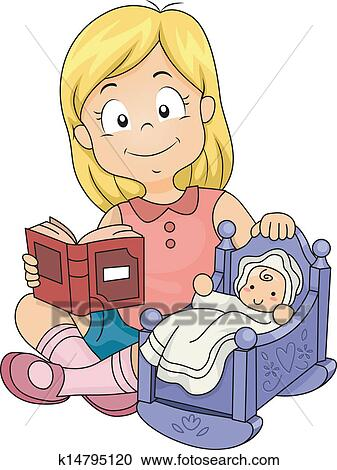 Clipart of Little Kid Girl Playing with Baby Doll ... Playing With Dolls Clip Art
